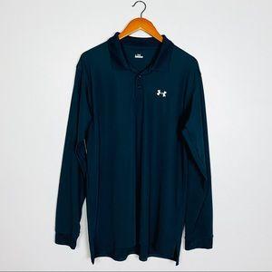 Under Armour Mens Long Sleeve Polo Shirt Sz L